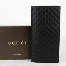$625 Gucci Men's Black Microguccissima Leather Wallet w/ ID window 449245 1000