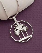 Silver Palm Tree Pendant, Palm Tree Necklace,Tropical Jewelry, ( # 433S )