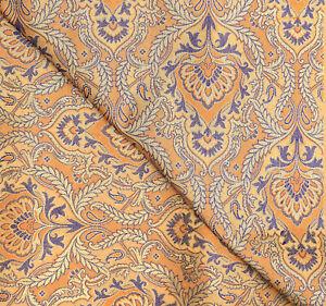 Jacquard Beige & Gold Brocade Silk Fabric Craft Sewing Wedding Dress By The Yard