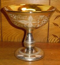Antique Etched Mercury Glass Compote / Comport -Cloudy- Gold Interior - 6 9/16""