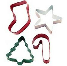 Wilton Christmas 4 Piece Xmas Jolly Shapes Metal Cookie Cutter Set Stocking Tree