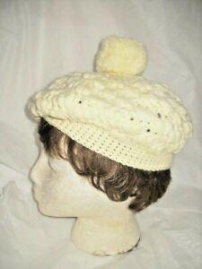 SALE! BERET HAT WINTER WHITE CROCHETED Handmade Any Size Unworn? Woman Millinery