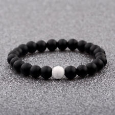 8MM Women Men His And Hers Distance Bracelets White Black Beads Friendship Gift