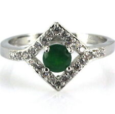 Lady's Size 6 3/4  Silver & Emerald Green With White CZ Square Frame Accent Ring