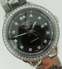 Tag Heuer Carrera Ladies Automatic Steel Black Diamond Dial & Bezel WV2412