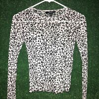 Y2K Leopard Print Stretch Mesh Crop Top Forever21 Size Small