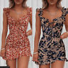 Womens Printed V Neck Ruffle Frill Mini Dress Summer Party Sexy Bodycon Dresses#