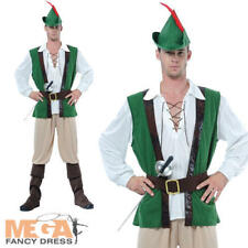 Robin Hood + Hat Mens Fancy Dress Medieval Book Week Adults Costume Outfit New
