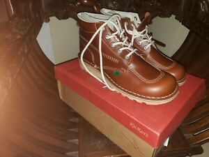 Kickers Mens Boots Size 45 11.5 Kick Hi Leather Shoes Lace Up New Dark Tan