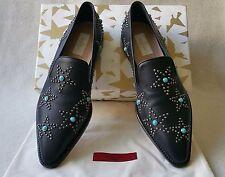 NIB Valentino 40 9.5 10 Leather Beatles Star Studded Smoking Flat Loafer Shoe