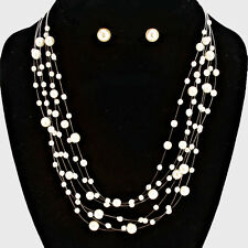 "16"" cream pearl floating collar bib necklace earrings bridal"