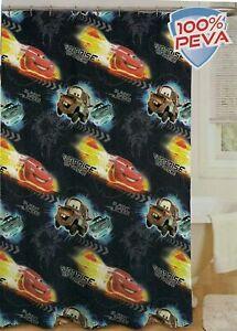 """Disney Cars Peva Shower Curtain, 70"""" X 72"""" plus Cars Shower Curtain hooks"""