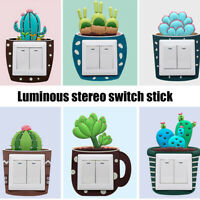 3D Luminous Cartoon Cactus Switch Stereo Wall Sticker Removable Decal Room Décor