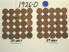 1926-D SOLID DATE PENNIES=ONE ROLL OF 50 LINCOLN WHEAT CENTS