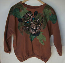 Alfredo's Wife Brown Applique Leopard Blouse Top -- Size XS