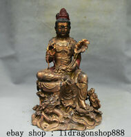 """15,2"""" Ancien Chine Bronze Doré Kwan-Yin Guan Yin Boddhisattva Dragon Statue"""