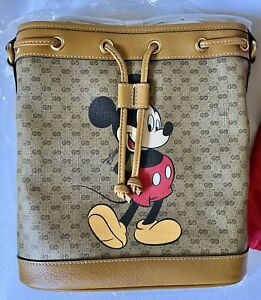 GUCCI xDisney Mickey Mouse Collaboration Shoulder Bucket Leather Limited NEW