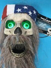 Halloween Talking Haunted Moving Skull LED Lights Sounds Bearded Hillbilly