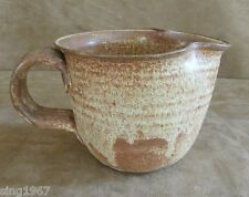 Stoneware batter pitcher bowl Hand thrown pottery brown American made