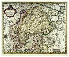 Scandinavia Sweden Stockholm Norway Denmark illustrated map Hondius ca.1633