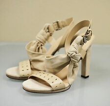 5 New GUCCI Suede/Leather Pumps Sandals SHOES 39/9 Nude w/Bow 257874 9905