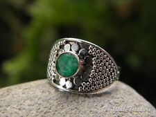 Emerald & 925 Solid Silver Ring (Size 6 1/2, M 1/2) #147211