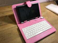 """Pink USB Keyboard Leather Case/Stand 4 NATPC M010S 7"""" Google Android Tablet PC"""