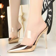 Women Shiny Pointy toe Mules Sandals High Stiletto Heel Clear Shoes Pump Slipper