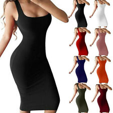 US Women Sexy Pencil Bodycon Club Party Solid Slim Tank Sleeveless Dress Clothes