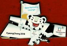 Rare 2018 PyeongChang New Horizons Lounge Olympic Mascot with Flag Prototype Pin
