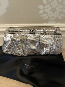 Authentic Zagliani Ladies Silver Scale Leather Clutch Bag With Original Dust Bag