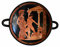 Victory of Theseus over the Minotaur in the presence of Athena small Kylix Vase