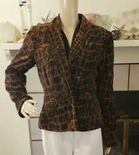 Nygard Collection Jacket Size 12   Brown Black Animal Lined Cotton Velvet Blazer