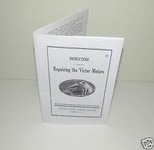 Repairing Victor & Victrola Motors Phonograph Gramophone Instructions Manual