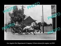 OLD LARGE HISTORIC PHOTO OF LOS ANGELES FIRE DEPARTMENT, No 14 FIRE WAGON c1910