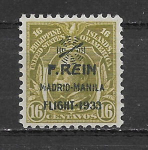 PHILIPPINES , USA , 1933 , AIRMAIL , REIN ISSUE , 16c STAMP  O.P. , MNG