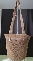 The Sak Taupe Crochet Knit Dual Strap Bucket Shoulder Bag Pre-owned zip top EUC