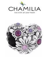 Chamilia 925 SILVER SWAROVSKI Corazón Púrpura Zinnia encanto grano, amor, Flores