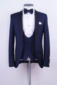 Men's Classic Navy Blue Suit Groom Tuxedos Wedding Suit Dinner Party Prom Custom