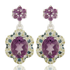 Peridot And Amethyst Gemstone Earrings Wedding 925 Silver Fashion Jewelry