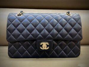 CHANEL 2.55 Double Flap Chain Shoulder Bag Black Lam. Excellent Condition