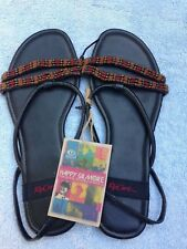 ** RIP CURL ** LADIES / WOMENS BLACK BEADED SANDALS - NEW - SIZE 8