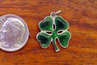 Vintage silver IRELAND SHAMROCK THREE LEAF CLOVER LUCK IRISH PENDANT charm