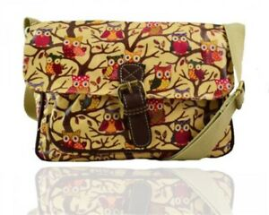 Satchel Small Owl Printed Oilcloth single pocket bags