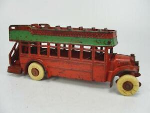 "RARE 1920's ARCADE KENTON CAST IRON 10"" DOUBLE DECKER RED BUS TOY BONNET"