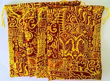 Quality Recycle Handmade Red/Yellow Fabric Drawstring Gift Bags (Pk x 4) 13x17cm