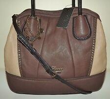 NEW GUESS CORINNA SATCHEL HANDBAG WITH REMOVABLE CROSSBODY STRAP TAUPE MULTI