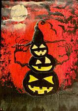 Halloween Pumpkin Man, ACEO original Art Card. Dab-Art