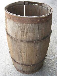 "17"" tall   Vintage Primitive Wooden Wood Nail Keg good for decor"