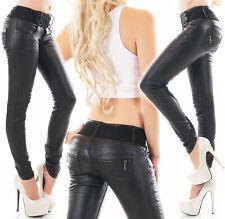 Damen Skinny Kunstleder Wetlook Stretch Hose Jeans schwarz 6-14